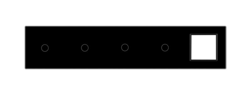 Livolo | Glasplaat | 1+1+1+1+SR | Zwart