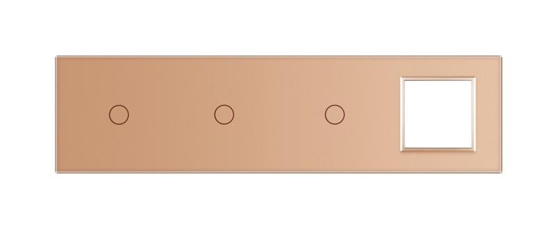 Livolo   Goud glasplaat   Combinatie   1+1+1+SR
