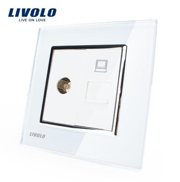 Livolo | Wit | Combinatie | TV en netwerk aansluiting