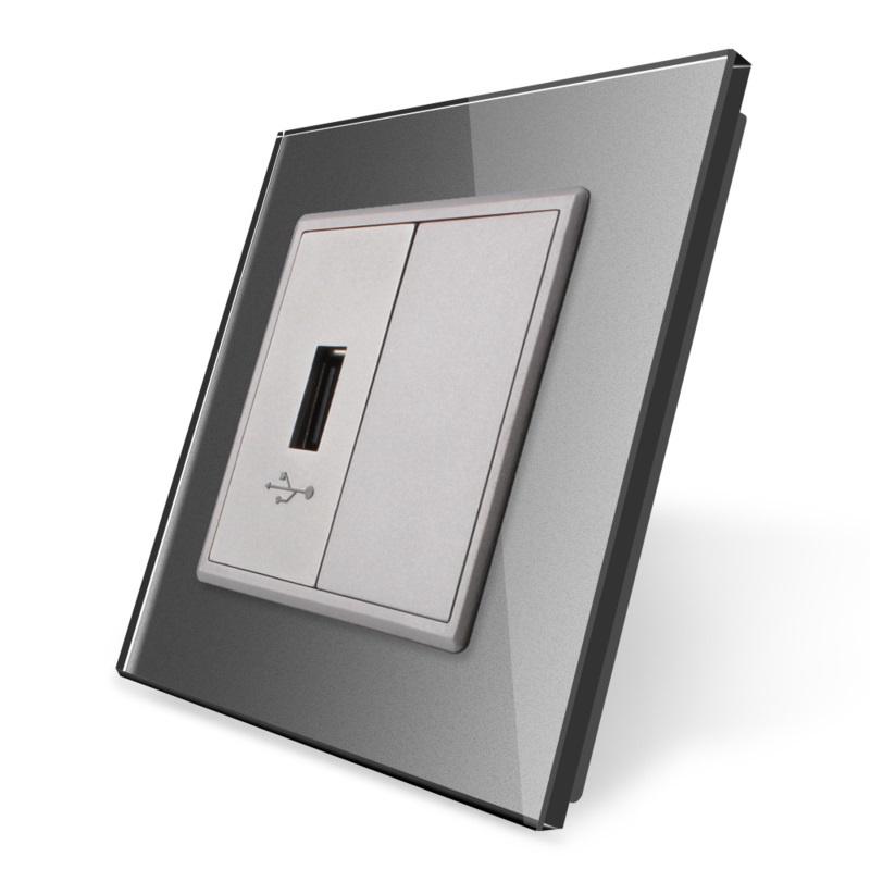 Livolo   USB aansluiting enkelvoudig   Grijs