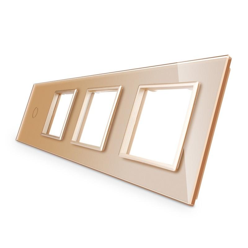 Livolo | Goud glasplaat | Combinatie | 1+SR+SR+SR