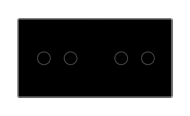 Livolo | Zwart 2+2 | Wisselschakelaar