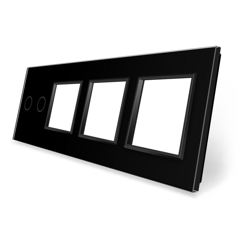 Livolo | Zwart glasplaat | Combinatie | 2+SR+SR+SR