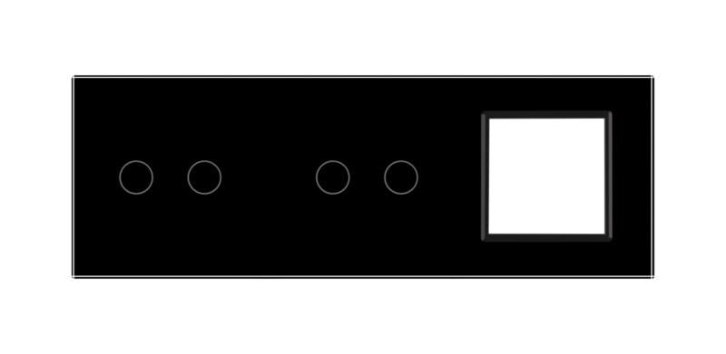 Livolo | Zwart glasplaat | Combinatie | 2+2+1 Deluxe