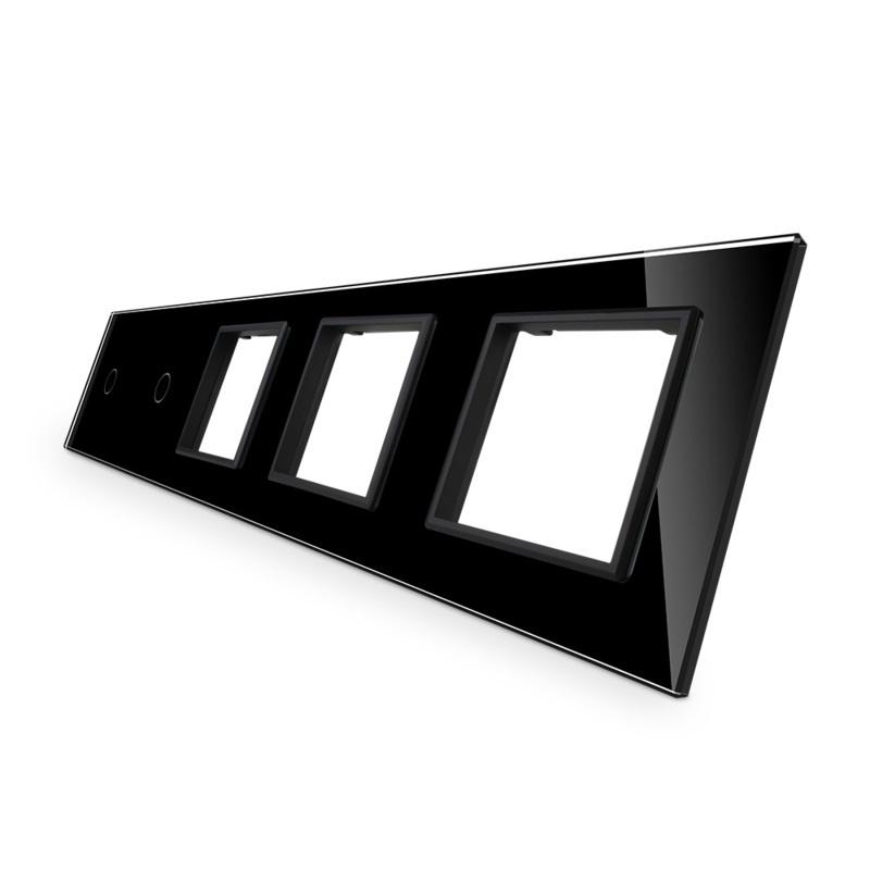 Livolo   Glasplaat   1+1+SR+SR+SR   Zwart