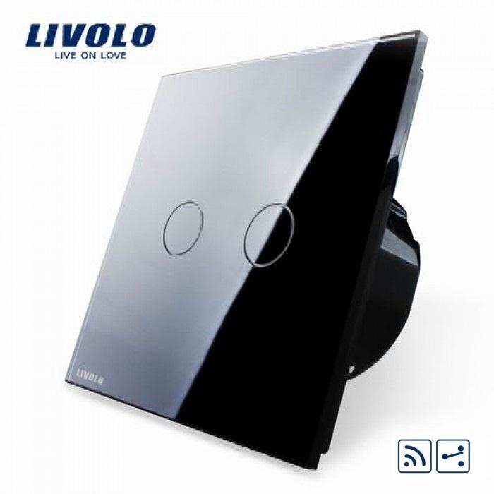Livolo | Zwart tweevoudig Wisselschakelaar | Afstandbediening