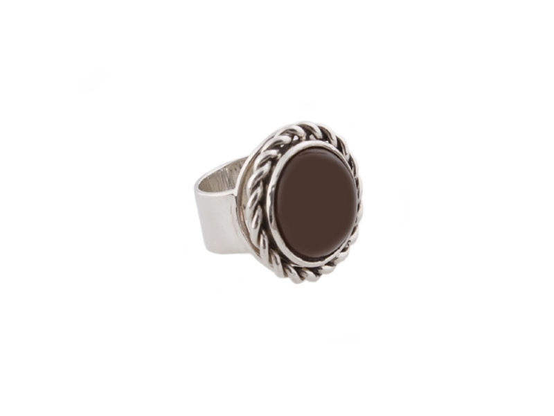 Twisted Brown Agate Ring