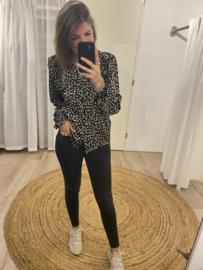 Ruffle print blouse Azzurro - black/beige
