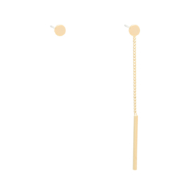 Earrings Round Stud and Dangle - gold