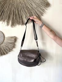 Leather crossbody bag - metallic brown