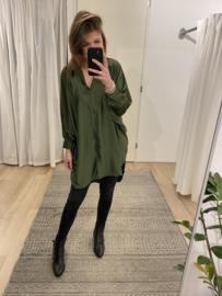 Satin long blouse - army green