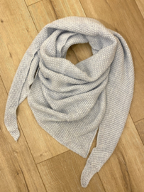 Knitted triangle scarf - light blue