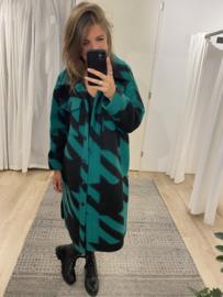 Check long blouse - green