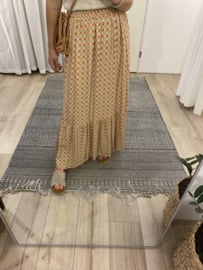 Print long skirt Azzurro - orange/brown