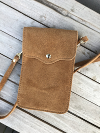 Little phone bag - suede camel