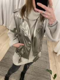 Leatherlook gilet Ambika - silver/taupe