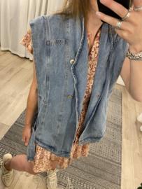 Oversized jeans gilet Azzurro - denim
