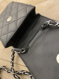 Leather classic crossbody small - black