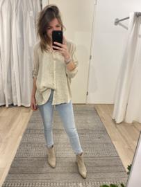 Linen short blouse Azzurro - beige
