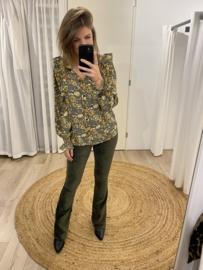 Print ruffle blouse Azzurro - army green