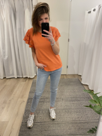 Embroidery tee - orange/coral