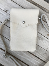 Little phone bag - leather beige