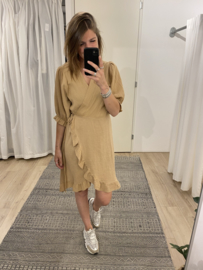 Cotton wrap dress - camel