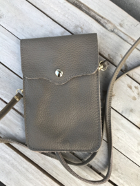 Little phone bag - leather dark taupe
