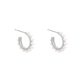 Earrings Pearl Around - silver