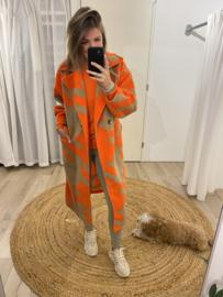 Check long jacket - orange