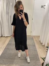 Cotton polo dress - black