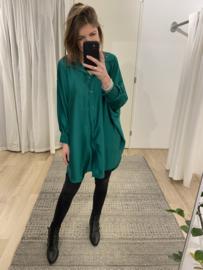 Satin long blouse - green