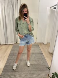 Embroidery ruffle blouse 2.0 - green