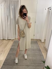 T-shirt split dress - beige
