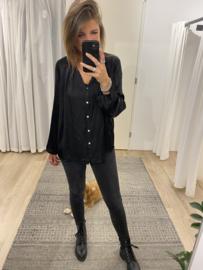 Satin button blouse Azzurro - black