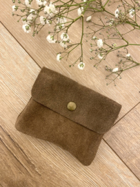 Suede wallet - taupe