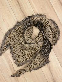 Panter triangle scarf - black/camel
