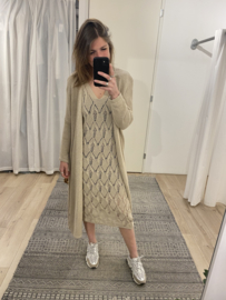 Knitted long cardigan - beige