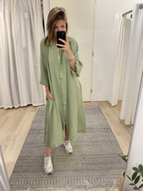 Cotton blouse wide dress - army green