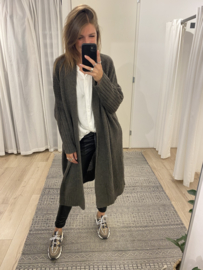 Basic knitted long cardigan - taupe