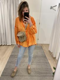 Cotton V-blouse - orange