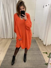 Knitted wide pull dress - coral