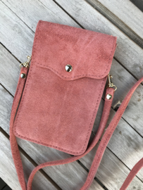 Little phone bag - suede peach