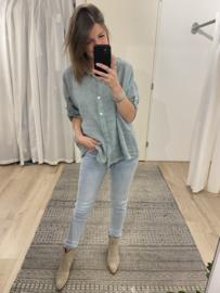 Linen short blouse Azzurro - green