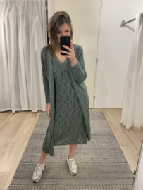 Knitted long cardigan - army green