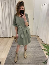 Summer ceintuur dress - army green