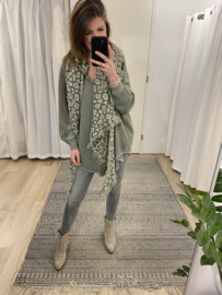 Linen wide blouse - army green
