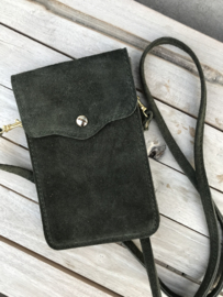 Little phone bag - suede army green