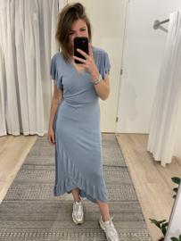 Ruffle wrap dress - blue