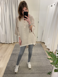Cotton fray tunic - beige